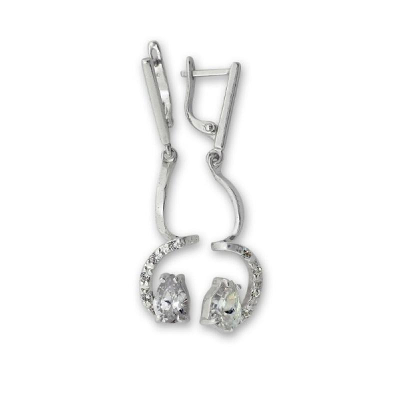 Clare - Сребърни обеци с Циркони 139601-Сребърни бижута