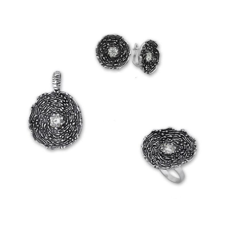 Cornelius - Сребърен комплект от три части с Циркони - Висулка, обеци и пръстен 8000025-Сребърни бижута