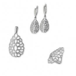 Corey - Сребърен комплект от три части без Камъни - Висулка, обеци и пръстен 8000027-Сребърни бижута