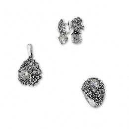 Cyan - Сребърен комплект от три части с Циркони - Висулка, обеци и пръстен 8000028-Сребърни бижута
