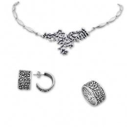 Benji - Сребърен комплект от три части без Камъни - Колие, Обеци и Пръстен 8000030-Сребърни бижута