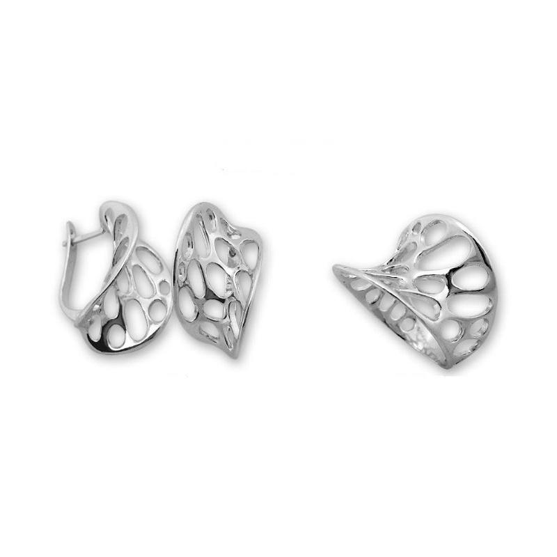 Lusia - Сребърен комплект от две части без Камъни - Обеци и пръстен 8000031-Сребърни бижута