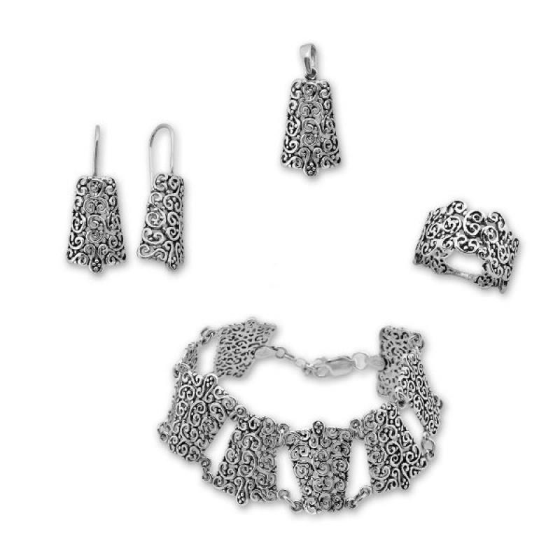 Burke - Сребърен комплект от четири части без Камъни - Обеци, Висулка, Пръстен и Гривна 8000033-Сребърни бижута