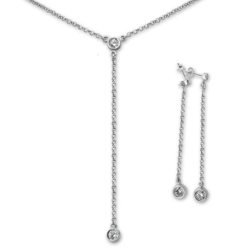 Serafina - Сребърен комплект от две части с Циркони - Колие и Обеци 8000182-Сребърни бижута