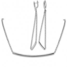 Deborah - Сребърен комплект от две части без Камъни - Колие и обеци 8000183-Сребърни бижута
