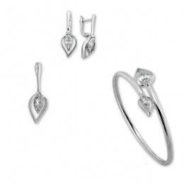 Darius - Сребърен комплект от три части с Цирконий - Обеци, Висулка и Гривна 8000588-Сребърни бижута