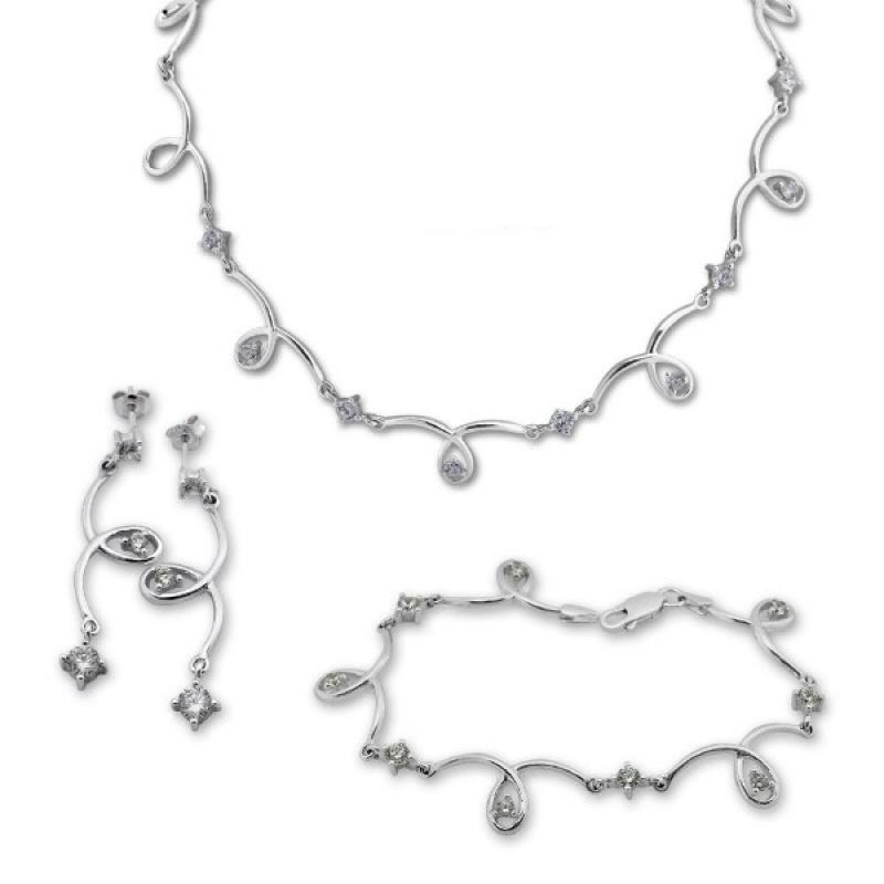 Fina - Сребърен комплект от три части с Циркони - Колие, обеци и гривна 8000592-Сребърни бижута