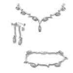 Zareen - Сребърен комплект от три части с Циркони - Колие, обеци и гривна 8000594-Сребърни бижута