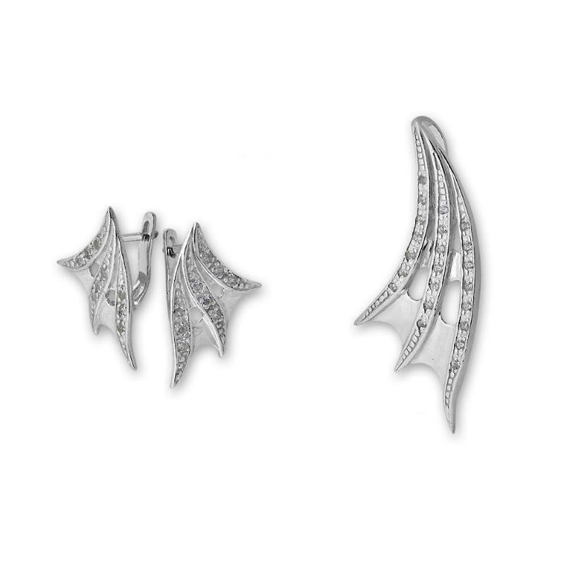 Alisan - Сребърен комплект от две части с Циркони - Висулка и обеци 8000600-Сребърни бижута