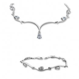Any - Сребърен комплект от две части с Циркони - Колие и гривна 8000602-Сребърни бижута