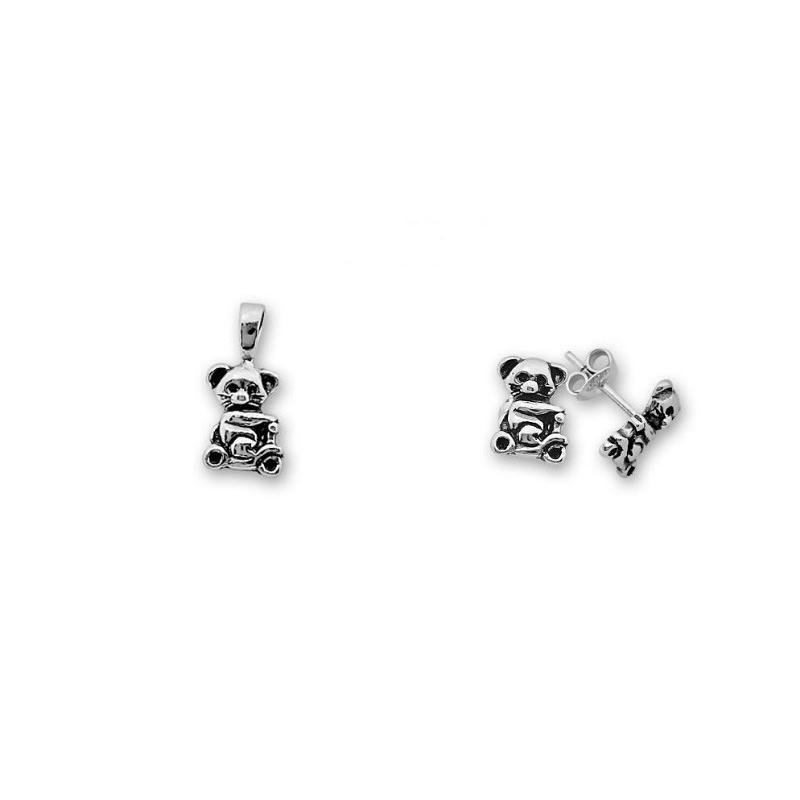 Bear - Сребърен комплект от две части без Камък - Висулка и обеци 8000603-Сребърни бижута