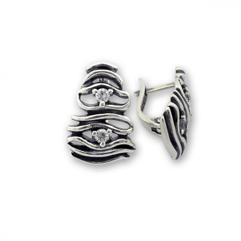 Bev - Сребърни обеци с Цирконий 121059-Сребърни бижута