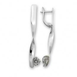 Camellia - Сребърни обеци с Циркон 121289-Сребърни бижута