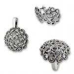 Cara - Сребърен комплект от три части без Камък - Висулка, Обеци и Пръстен 8000051-Сребърни бижута