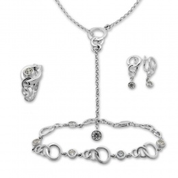 Beatrix - Сребърен комплект от четири части с Цирконий - Колие, Гривна, Обеци и Пръстен 8000052
