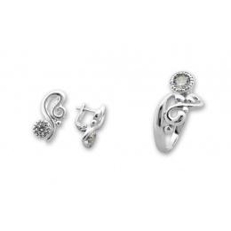 Betony - Сребърен комплект от две части с Цирконий - Обеци и Пръстен 8000053-Сребърни бижута