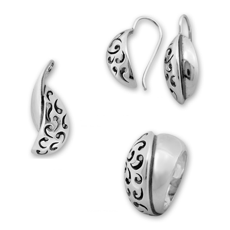 Dianny - Сребърен комплект от три части без Камък - Висулка, Обеци и Пръстен 8000054-Сребърни бижута