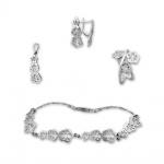 Barclay - Сребърен комплект от четири части без Камък - Висулка, Обеци, Гривна и Пръстен 8000056-Сребърни бижута