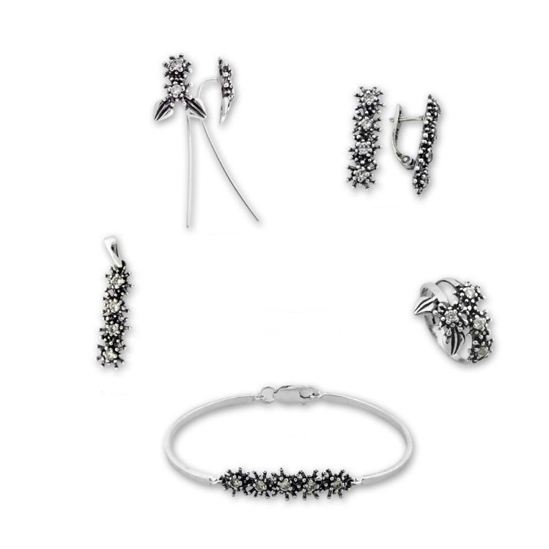 Breann - Сребърен комплект от пет части с Цирконий - Висулка, Обеци, Гривна и Пръстен 8000057-Сребърни бижута