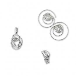 Briony - Сребърен комплект от три части с Цирконий - Висулка, Обеци и Пръстен 8000058-Сребърни бижута
