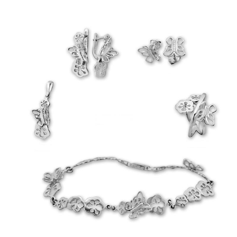 Barclay 2 - Сребърен комплект от пет части без Камък - Висулка, Гривна, Обеци и Пръстен 8000065-Сребърни бижута