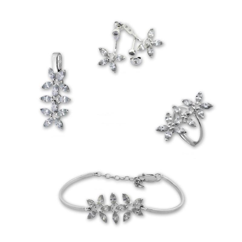Calen - Сребърен комплект от четири части с Цирконий - Висулка, Обеци, Гривна и Пръстен 8000066-Сребърни бижута