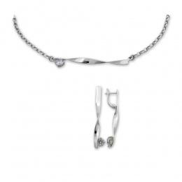 Camellia - Сребърен комплект от две части с Циркон - Колие и Обеци 8000289