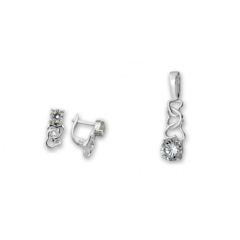 Katerine - Сребърен комплект от две части с Циркон - Висулка и Обеци 8000621-Сребърни бижута