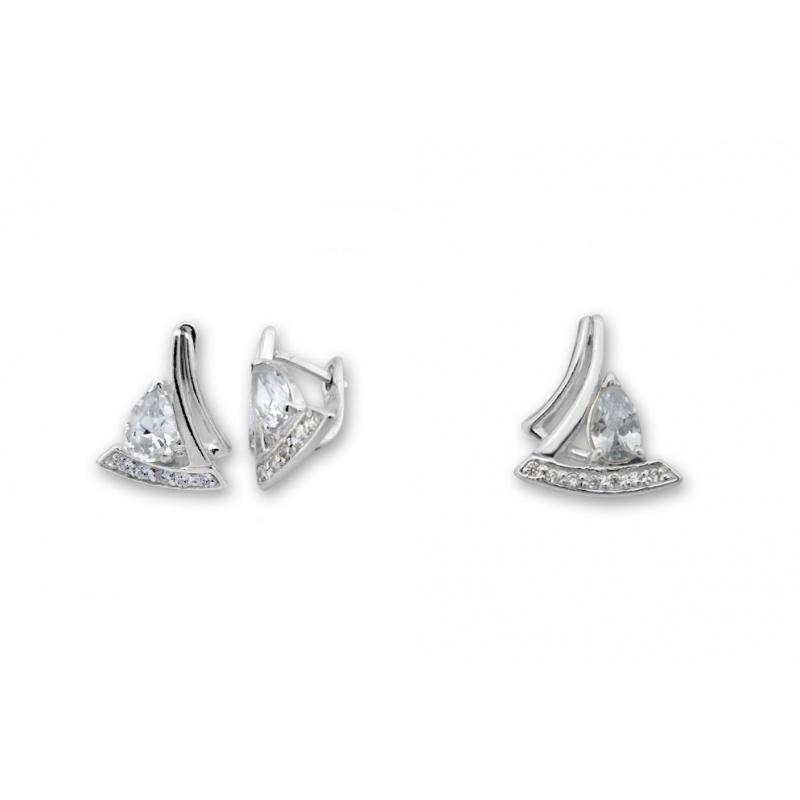 Monti  - Сребърен комплект от две части с Цирконий - Висулка и Обеци 8000623-Сребърни бижута