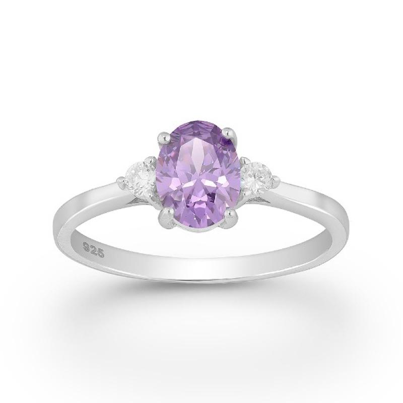 Violet - Сребърен пръстен с цветни Цирконий 70122169P-Сребърни бижута