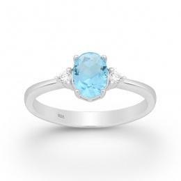 Violet - Сребърен пръстен с цветни Цирконий 70122169T-Сребърни бижута