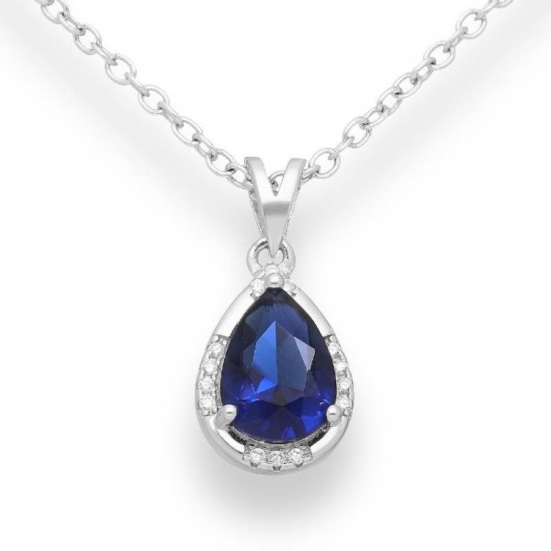 Belino - Сребърна висулка с Цирконий цвят Сапфир 70122389-Сребърни бижута