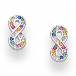 Infinity Color - Сребърни обеци Безкрайност с цветни Цирконий 70123379