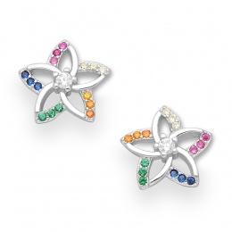 Juliano - Сребърни обеци с цветни Цирконий 70123604