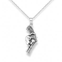 Gun - Сребърна висулка Пистолет без Камък 70631222