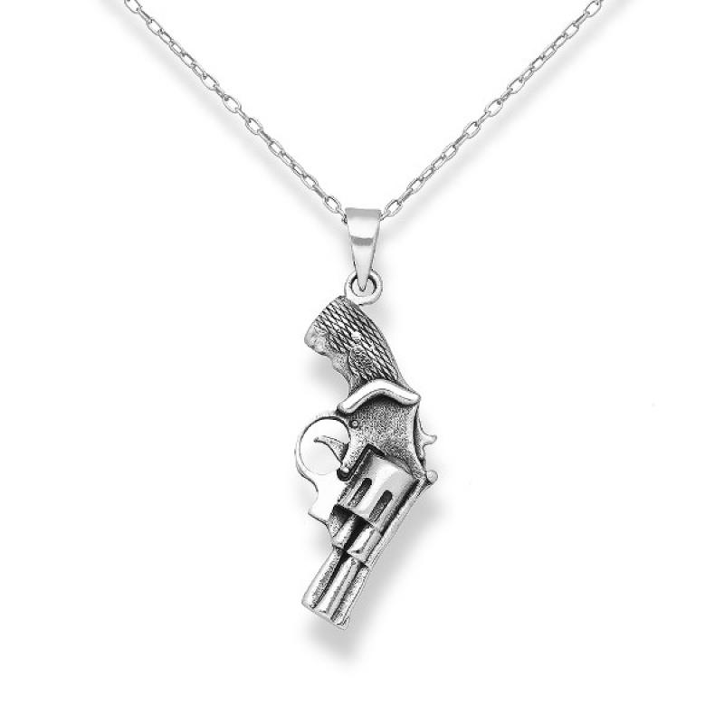 Gun - Сребърна висулка Пистолет без Камъни 70631222-Сребърни бижута