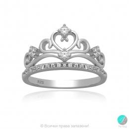 Crown 2 - Сребърен пръстен Корона  с Циркони 5370119739 -Сребърни бижута