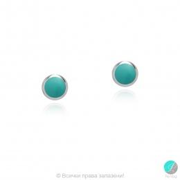 Diane - Сребърни обеци със зелен Тюркоаз 607813235ZT-Естествени камъни