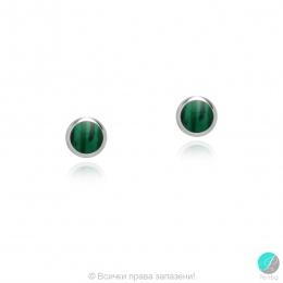 Diane - Сребърни обеци със зелен Резин цвят Малахит  607813235M-Естествени камъни