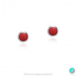 Diane - Сребърни обеци с червен Резин 607813235R-Естествени камъни