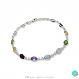 Capricorne - Сребърна гривна с аметист, перидот, цитрин, розов кварц, гранат и топаз 888834451-Естествени камъни