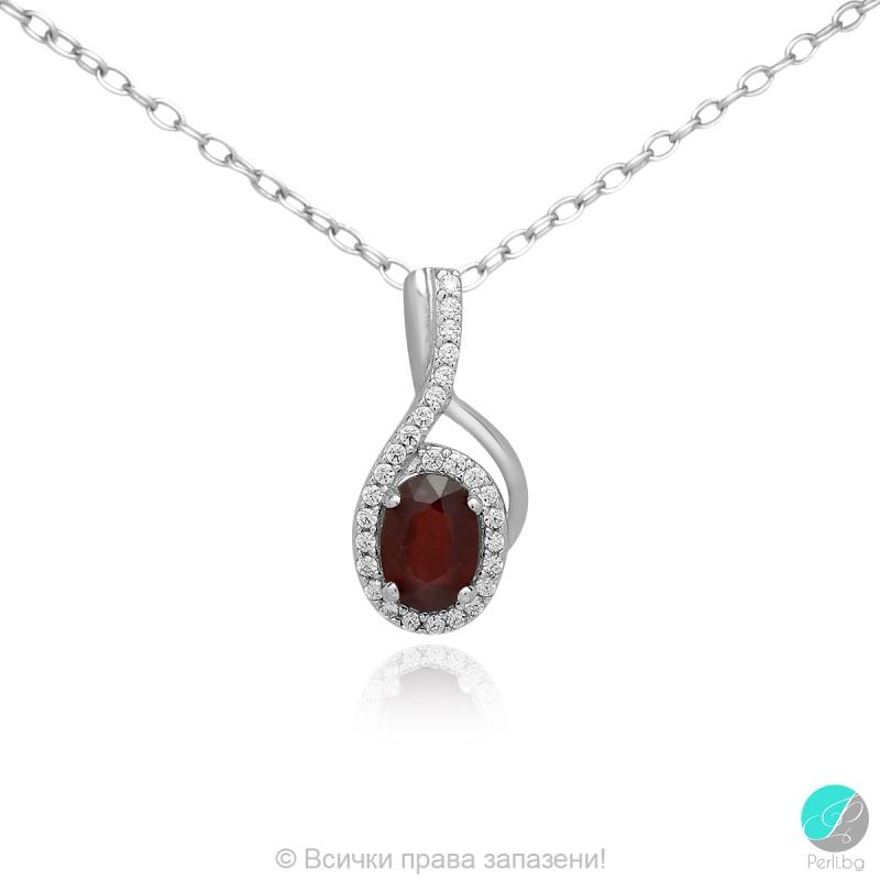 Livis - Сребърна висулка с Рубин и Цирконий 888835404R-Естествени камъни