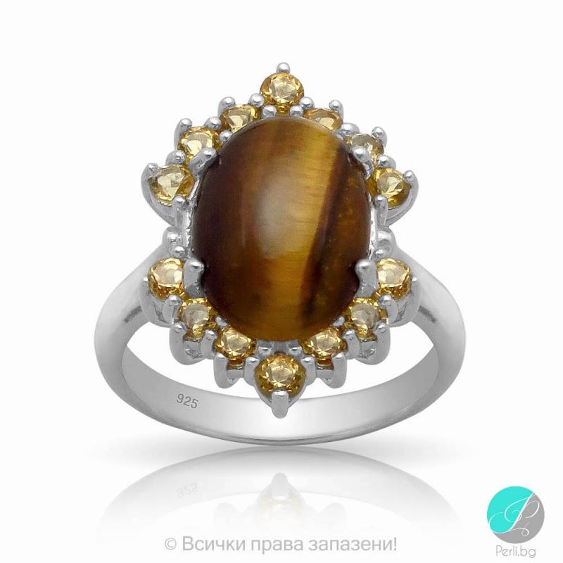 Jada - Сребърен пръстен с Тигрово око и Циркони 13811811711-Естествени камъни