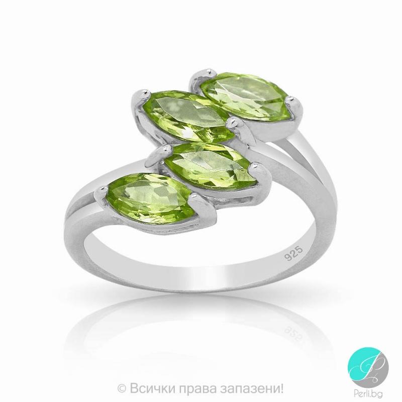 Nigel - Сребърен пръстен с Перидот 13811812065A-Естествени камъни
