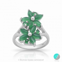 Mistyk - Сребърен пръстен със зелен Авантюрин 13811812092-Естествени камъни