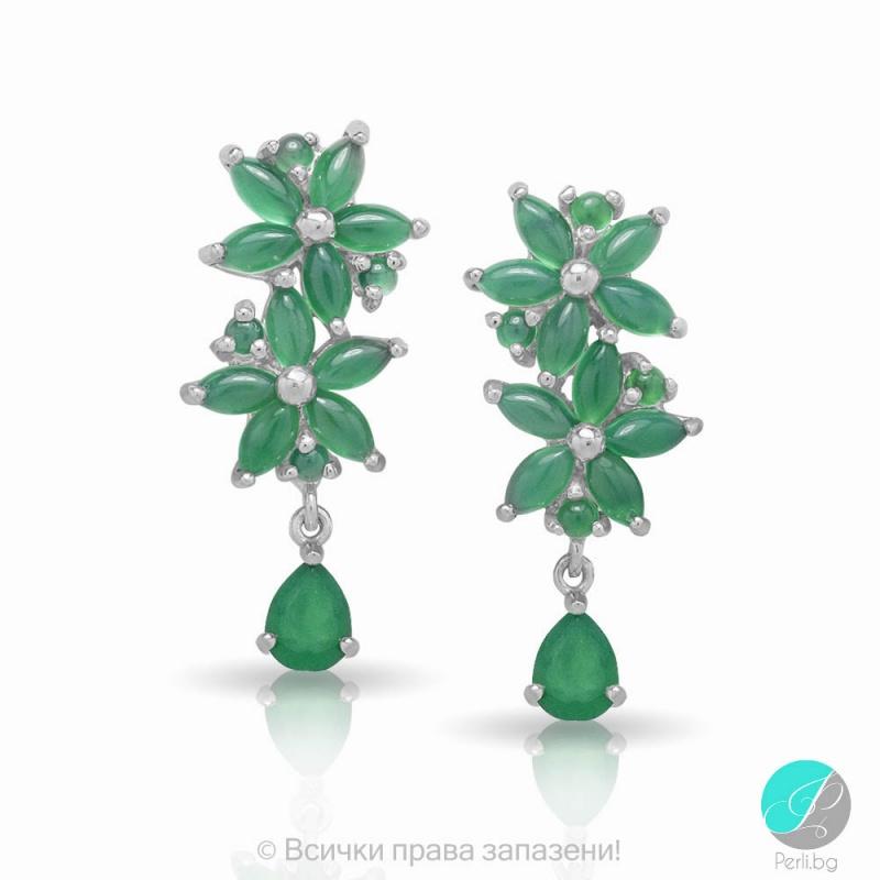 Mistyk - Сребърни обеци със зелен Авантюрин 13811812094-Естествени камъни