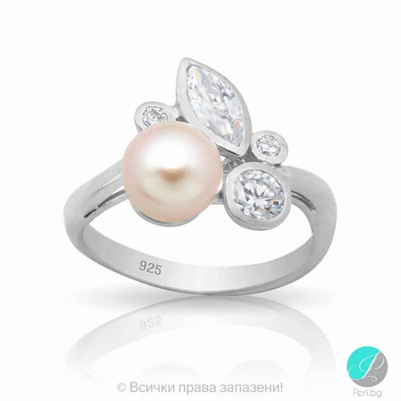 Jillie - Сребърен пръстен с Перла и Циркони АА 6 мм 253822683 -Пръстени