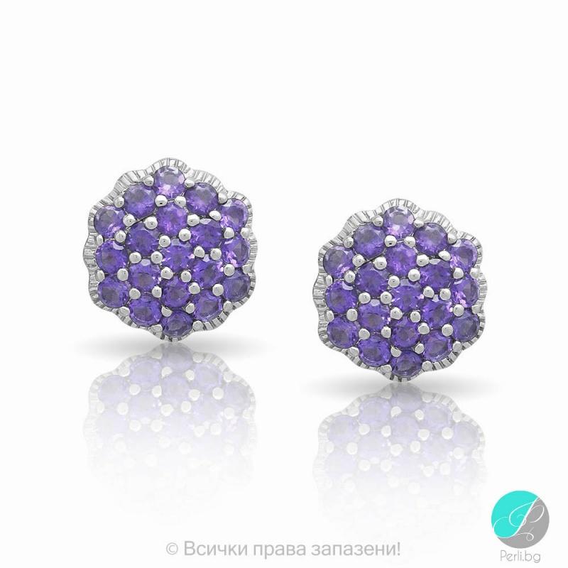 Magy - Сребърни обеци с Аметист 13811812100-Естествени камъни