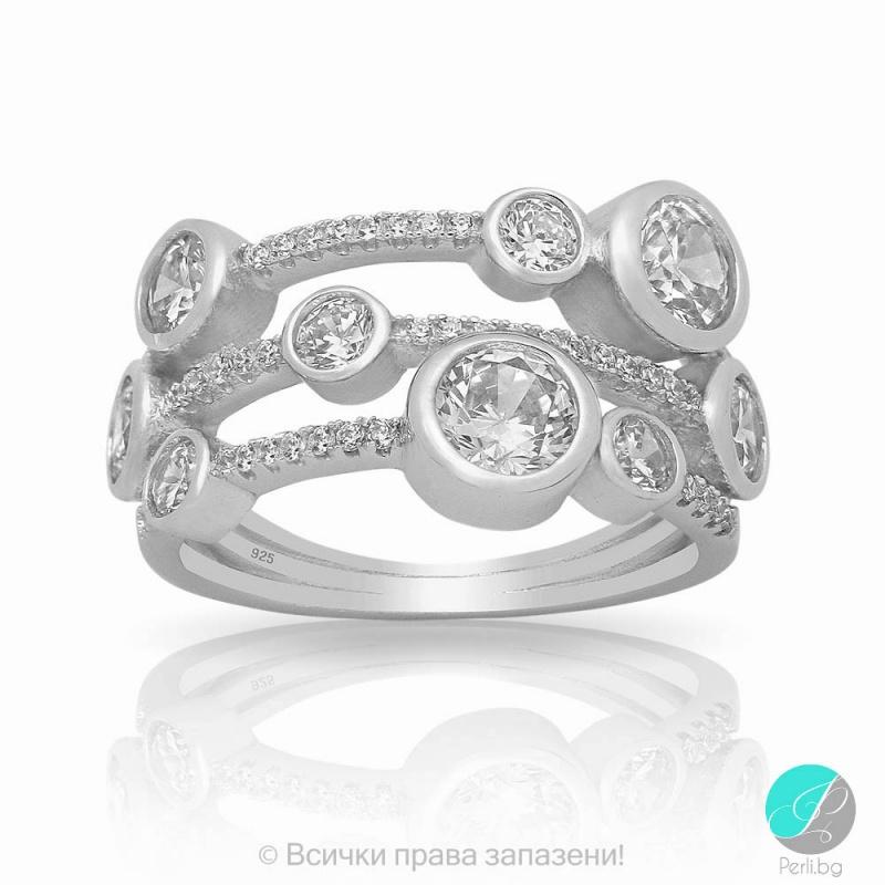 Lulla - Сребърен пръстен с Циркони 5370115384-Сребърни бижута
