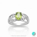 Justine - Сребърен пръстен с Перидот 888834572P-Естествени камъни